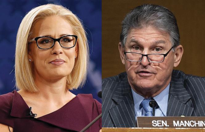 Senators Kyrsten Sinema, left and Joe Manchin could help derail the Equality Act in the Senate. Photos: AP