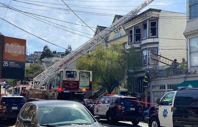 Personnel from San Francisco fire and police departments were on the scene of a fire Friday afternoon. Photo: John Ferrannini