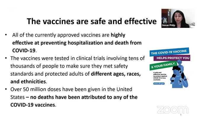 A slide from the March 9 virtual town hall highlights the safety of COVID-19 vaccines. Photo: Screengrab