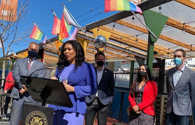 San Francisco Mayor London Breed held a news conference outside The Cove on Castro Friday to announce legislation to make the Shared Spaces program permanent post-pandemic. Photo: John Ferrannini