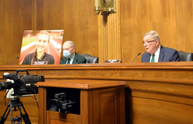 Ranking Member Chuck Grassley, left, and Chair Dick Durbin spoke at the U.S. Senate Committee on the Judiciary hearing for the Equality Act March 17. Photo: Michael Key/Washington Blade