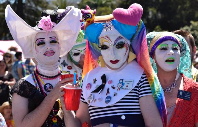 a trio of Sisters in Dolores Park at the 2019 Easter celebration.