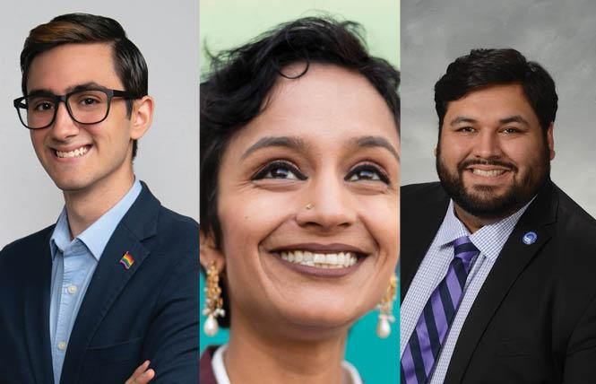 LGBTQ candidates James Aguilar, left, Janani Ramachandran, and Victor Aguilar Jr. (no relation to James) have all announced they are running to replace Attorney General-designate Rob Bonta in the 18th Assembly District. Photos: Courtesy the candidates