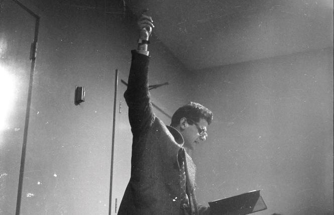 """Allen Ginsberg reading """"Howl"""" in November 1955 photo: Courtesy USU Special Collections, Merrill-Cazier Library LP."""
