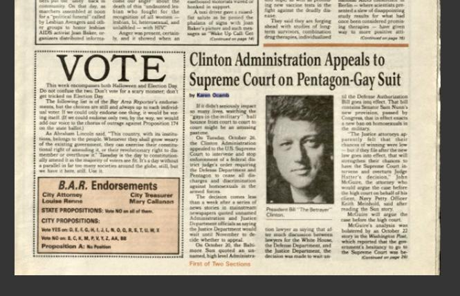 """A 1993 issue of the B.A.R. with """"The Betrayer"""" inserted in the caption of then-President Bill Clinton's photo. Photo: B.A.R. Archive"""