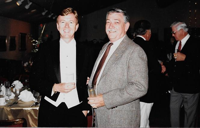Thomas E. Horn, left, hosted the 60th birthday party for founding Bay Area Reporter publisher Bob Ross in 1994. Photo: Courtesy Thomas E. Horn