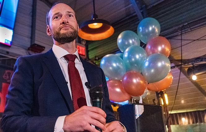 San Francisco District Attorney Chesa Boudin, seen at his 2019 election night party, is fending off a recall campaign against him. Photo: Jane Philomen Cleland