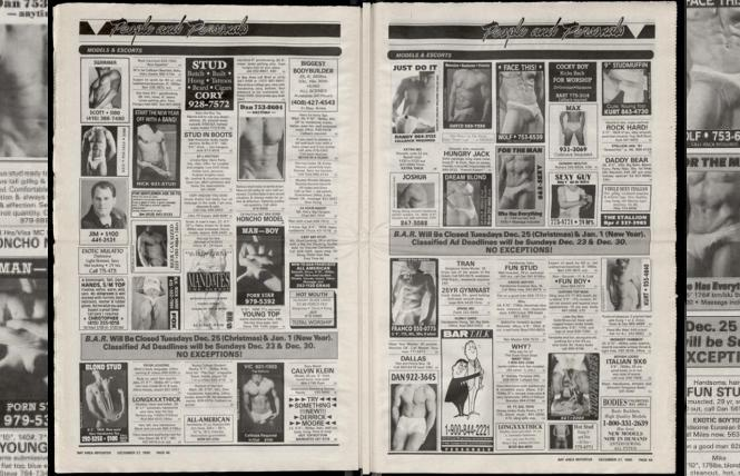 A two-page spread from six pages of escort and massage ads in the December 1990 issue of the Bay Area Reporter