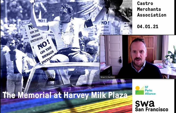 Brian Springfield, interim executive director of the Friends of Harvey Milk Plaza, gave a presentation on the proposed renovation project to the Castro Merchants Association April 1. Photo: Screengrab