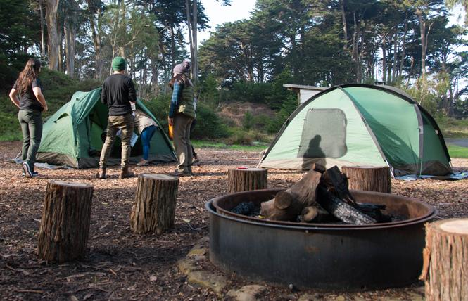 People camp at Rob Hill Campground in San Francisco's Presidio. Photo: Maria Gordon