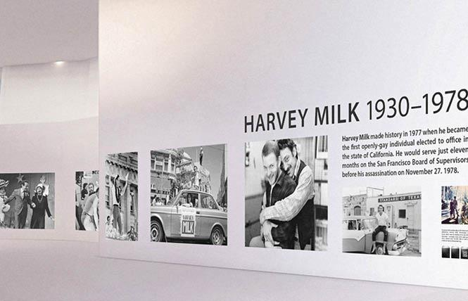 A rendering of what the new temporary Milk exhibit set to debut May 25 at San Francisco International Airport's Harvey Milk Terminal 1 will look like shows large photos documenting the late gay supervisor's life. Photo: Courtesy SFO Museum
