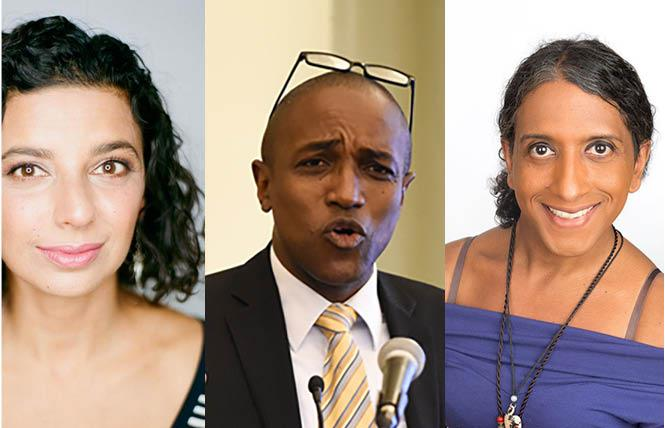 Human Rights Watch associate director in the LGBT Rights program Neela Ghoshal, left, Jamaican gay activist Maurice Tomlinson, and Colours Cayman founder and president Billie Bryan are fighting for queer rights in the Caribbean. Photos: Courtesy of the subjects