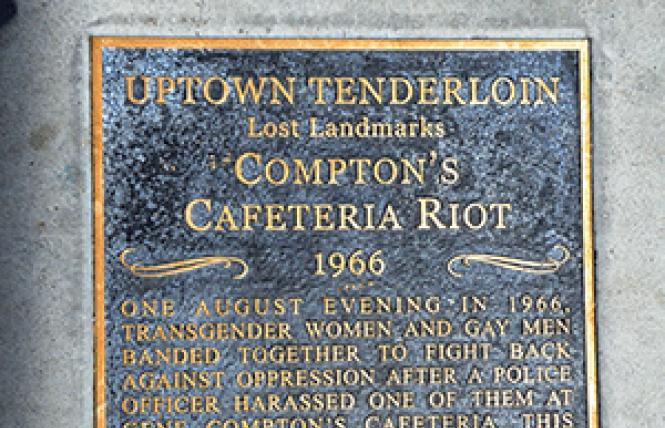 A sidewalk plaque in front of the site of Compton's Cafeteria commemorates the 1966 riot that took place there. Photo: Rick Gerharter