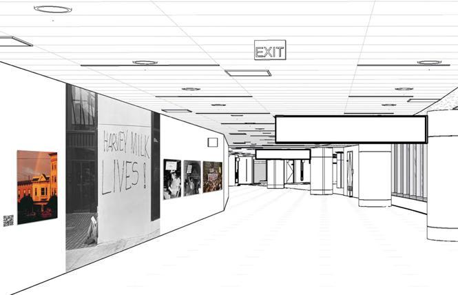 A schematic previews the new Milk customs corridor exhibit coming to SFO. Photo: Courtesy SFO Museum
