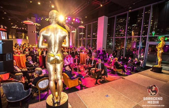 "Gold ""Oscar guys"" have been a staple at Academy of Friends Oscar galas, where in 2019 a couple of them overlooked the crowd. Photo: Scott Saraceno"