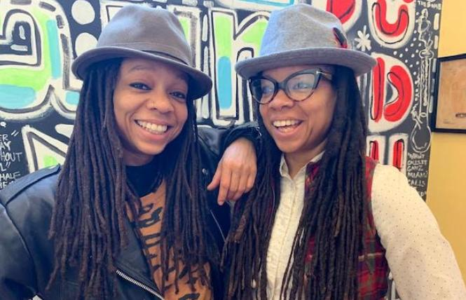 Melonie Green, left, and her twin sister, Melorra Green, were selected by the public as this year's San Francisco Pride community grand marshals. Photo: Sari Staver