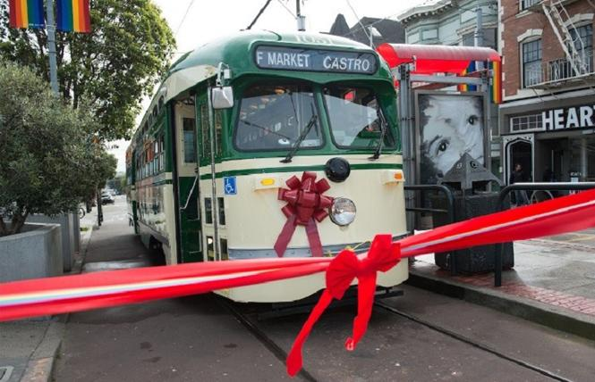 The Harvey Milk F Line streetcar No. 1051 was rededicated in 2018. Photo: Courtesy SFMTA