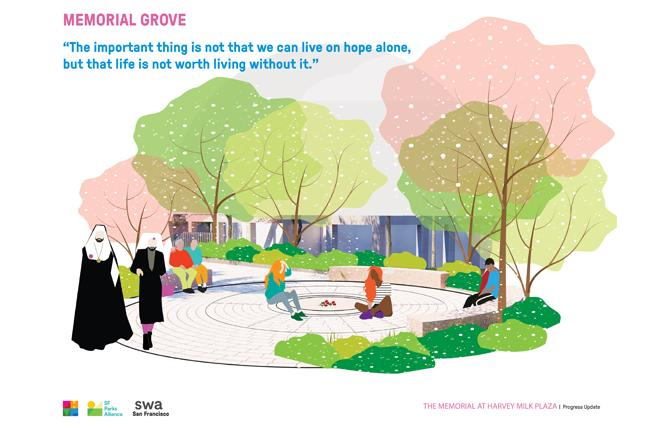 A rendering of the memorial garden concept was received most favorably by attendees at two recent town halls about renovating Harvey Milk Plaza. Photo: Courtesy SWA Group