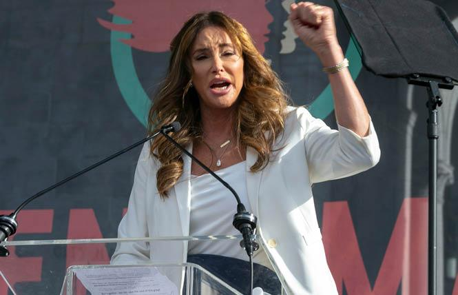 Caitlyn Jenner spoke at the Women's March in Los Angeles in 2020. Photo: Courtesy AP