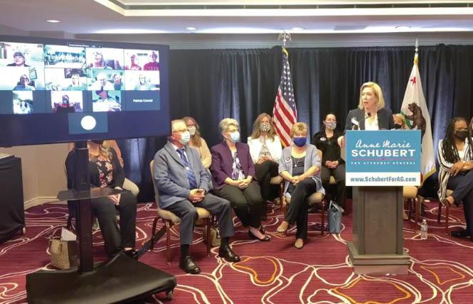 Sacramento County District Attorney Anne Marie Schubert, right, spoke at a news conference April 26 announcing her candidacy for California attorney general. Photo: Screengrab