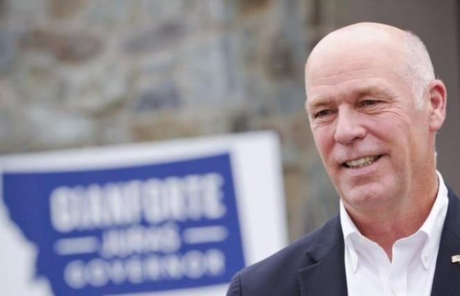 Montana Governor Greg Gianforte signed an anti-LGBTQ law last week, likely meaning the state will be added to California and San Francisco's no-fly lists that prohibit taxpayer-funded travel. Photo: Courtesy AP