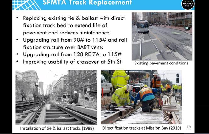 A slide shows old Muni tracks over the years, and what will be done during phase 1 of Better Market Street between Fifth and Eighth streets. Photo: Courtesy SFMTA