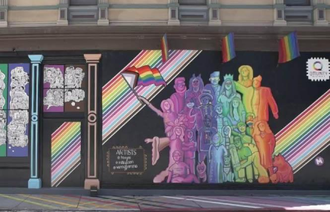 The Qmunity District in San Jose unveiled its first mural April 30; a portion of which is shown here. Photo: Screengrab