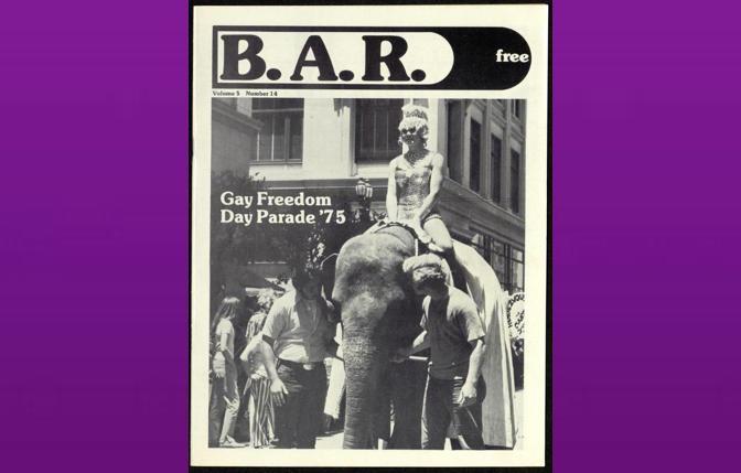 Empress Doris rides an elephant down Polk Street at 1975's Gay Freedom Day Parade