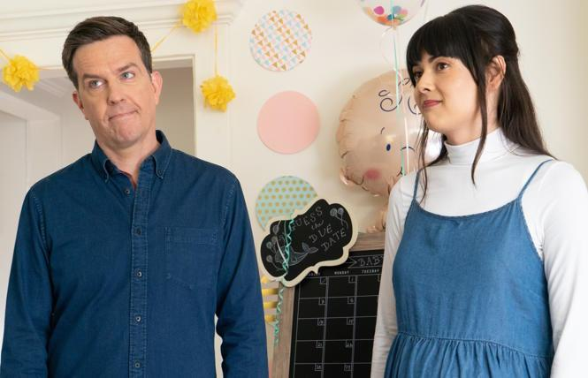 Ed Helms and Patti Harrison in 'Together Together'.