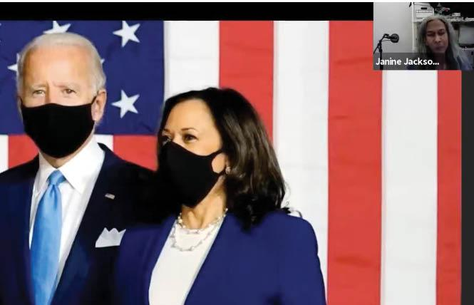 President Joe Biden, shown with Vice President Kamala Harris, was the subject of a review of his first 100 days in office that featured Janine Jackson, top right. Photo: Screengrab