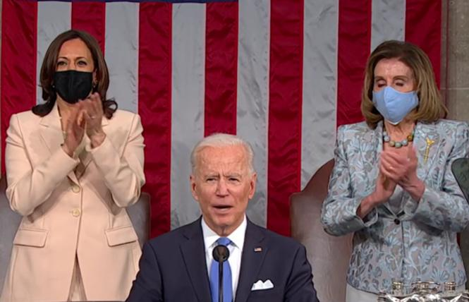 President Joe Biden delivered his address to a joint session of Congress, as Vice President Kamala Harris and House Speaker Nancy Pelosi applauded when he mentioned the Equality Act. Photo: Screengrab