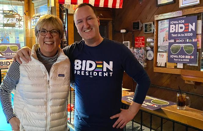 Jill Nash, a co-founder of Women for Biden, met an unidentified volunteer a Biden LGBTQ event at Blazing Saddles, a local bar in Des Moines. Photo: Courtesy Jill Nash