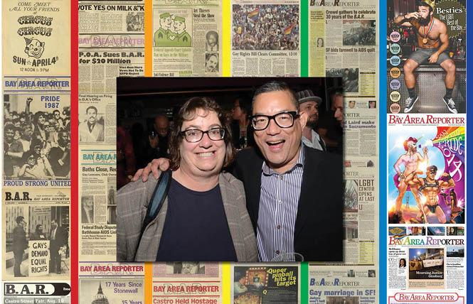 Bay Area Reporter news editor Cynthia Laird and publisher Michael Yamashita talk about the LGBTQ newspaper's 50th anniversary. Photo: Courtesy B.A.R.