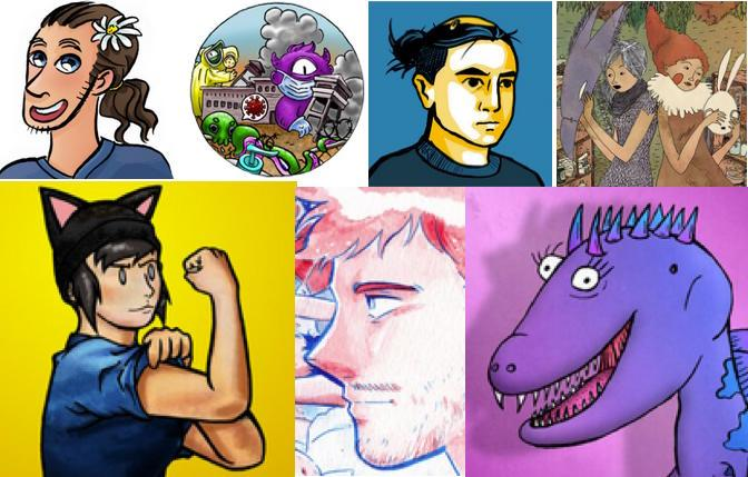 Art by some of the participants in the 2021 Queer Comics Expo