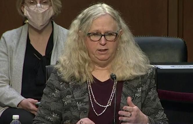 Assistant Secretary for Health Dr. Rachel Levine, shown here during her Senate confirmation hearing, was one of the officials, along with her boss, Health and Human Services Secretary Xavier Becerra, who reversed a Trump-era rule allowing health care providers to discriminate against LGBTQ people. Photo: Screengrab via CSPAN