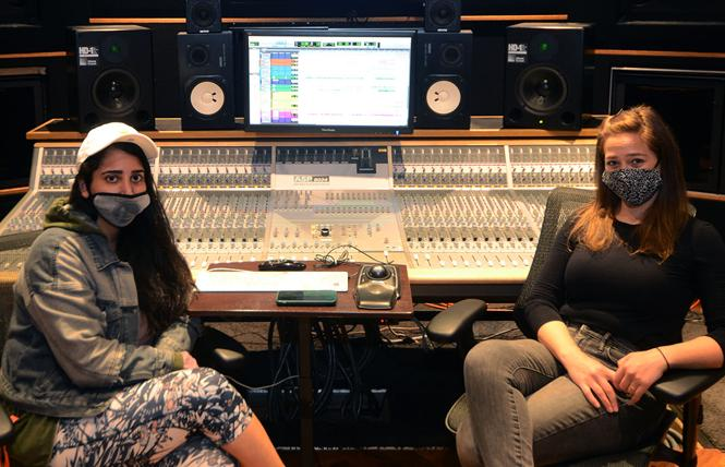 Layla Moheimani, left, studio coordinator and instructor, and Elena Botkin-Levy, special projects, sit in the control room at Women's Audio Mission. Photo: Rick Gerharter
