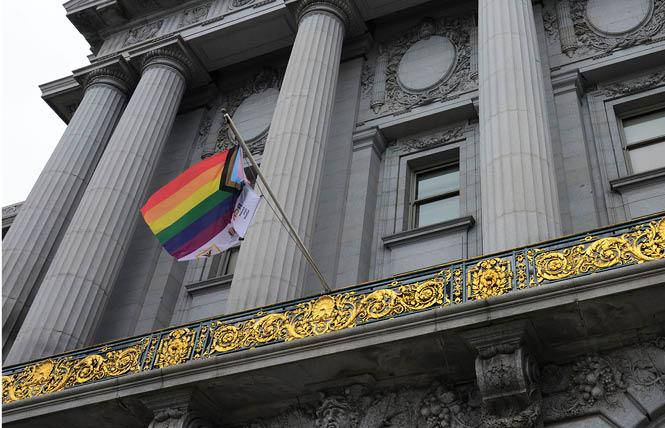 The Progress pride flag from Cork, Ireland flew at San Francisco City Hall Sunday, May 16. Photo: Rick Gerharter