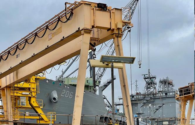 The USNS Harvey Milk sits in the General Dynamics San Diego shipyard. Photo: Courtesy International Imperial Court