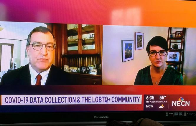 Sean Cahill, left, seen discussing the importance of SOGI data in a New England Cable News appearance in May 2020, is one of several people pushing a federal agency to incorporate the information in health records. Photo: Screengrab