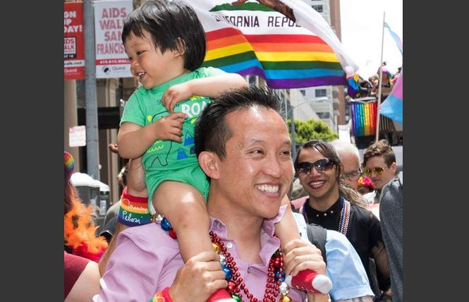 Assemblyman David Chiu (D-San Francisco) marched in the 2019 San Francisco Pride parade with his son, Lucas. Photo: Courtesy Assemblyman Chiu's office