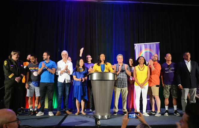 Incoming Mayor London Breed joined with other San Francisco elected officials at the annual Alice B. Toklas LGBTQ Democratic Club Pride Breakfast on June 24, 2018. Photo: Rick Gerharter