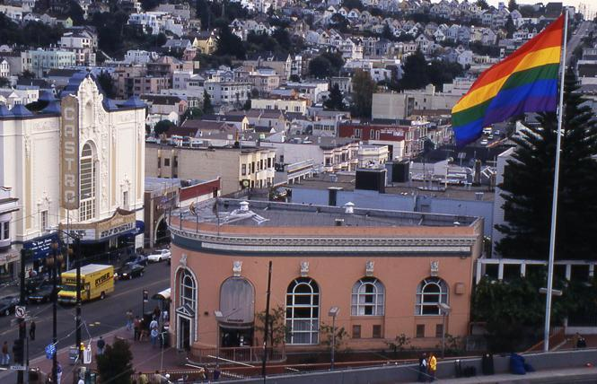 The Castro Merchants Association, which maintains the giant rainbow flag at Castro and Market streets, has proposed a second flagpole in the LGBTQ district so that other Pride flags can be flown. The move came after the Castro LGBTQ Cultural District board voted in favor of replacing the Gilbert Baker-designed flag. Photo: Rick Gerharter