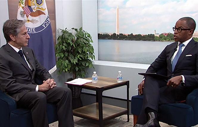 United States Secretary of State Antony J. Blinken, left, talks with Jonathan Capehart. Photo: Atlantic Council screenshot