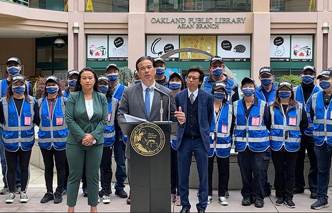 Attorney General Rob Bonta issued his office's annual report on hate crimes during a news conference in Oakland's Chinatown neighborhood June 30. Photo: Courtesy AG's Office