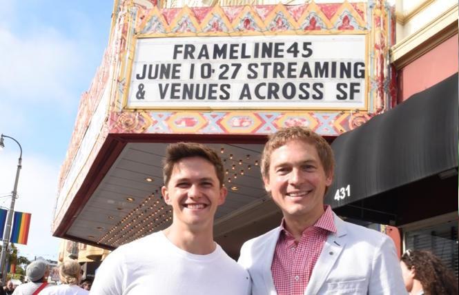'Firebird' star Tom Prior and director Peeter Rebane outside The Castro Theatre.