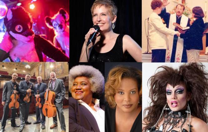 (clockwise from upper left) Frolic, Liz Callaway @ Feinstein's, MCC exhibit, DJ Spaz @ Pervertual, Tammy Hall & Loberta Lorál, Alexander String Quartet @ SF Performances