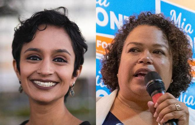 Janani Ramachandran, left, lost an appeal to the California Democratic Party over its endorsement of Mia Bonta in the August 31 runoff race. Photos: Ramachandran, courtesy the candidate; Bonta, Jane Philomen Cleland