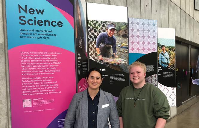 "Lauren Esposito, Ph.D., left, welcomed Exploratorium intern Felix Duley to the ""New Science: The Academy Exhibit"" at the California Academy of Sciences. Photo: Matthew S. Bajko"