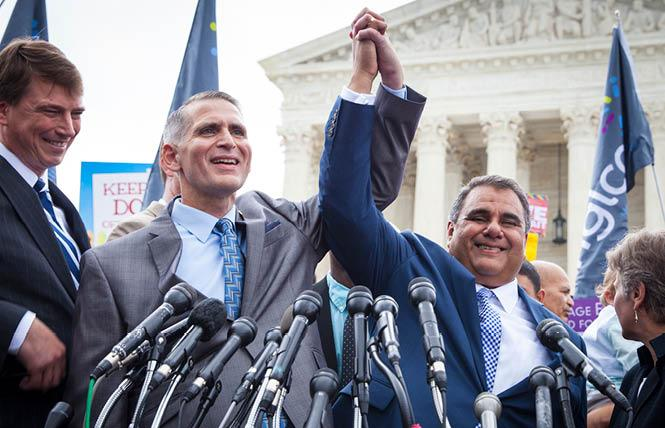 Greg Bourke, left, and his husband, Michael DeLeon, celebrated outside the U.S. Supreme Court after the justices legalized same-sex marriage nationwide in the Obergefell v. Hodges case on June 26, 2015. Photo: Molly Kaplan, ACLU