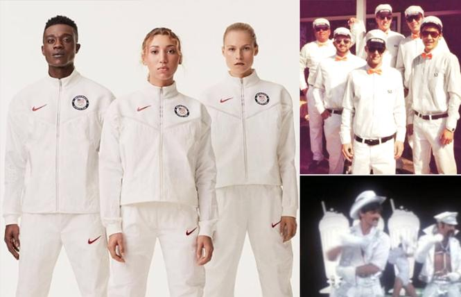 """Team USA's white uniforms, left, brought to mind SF Giants """"Melk Man"""" fans in 2012, top right, and the Village People in """"Can't Stop the Music."""" Photo: Screenshots"""